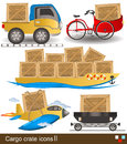 Cargo crate icons collection of different crates along with transport Royalty Free Stock Image