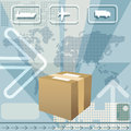 Cargo delivery illustration with delivering box against world map and icons of plane truck and ship Royalty Free Stock Photos
