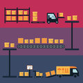 Cargo and delivery shipping process icons vector illustration with boxes container freight trucks Stock Photo