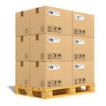 Cargo delivery transportation industry concept stacked cardboard boxes wooden shipping pallet isolated white background Stock Images