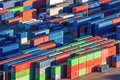 Cargo freight containers many colourful ready to trade Royalty Free Stock Photos