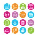 Cargo icons and shipping in colorful round buttons Royalty Free Stock Images