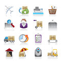 Cargo, logistic and shipping icons Stock Photo