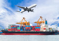 Cargo plane flying above ship port for logistic import export