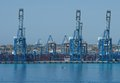 Cargo port in Birzebugga, Malta, panoramic view of cargo port early morning on May 2, 2015 Royalty Free Stock Photo