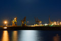 Cargo port at night of cape vado savona ligurian sea Royalty Free Stock Photos