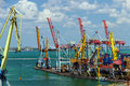 Cargo port in odessa cranes a seaport container crane Royalty Free Stock Photography