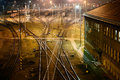 Cargo railway station big for trains in brno in the night Stock Photo