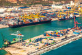 Cargo sea port aerial photo of with big cranes loading and unloading containers on Royalty Free Stock Photos
