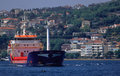 Cargo ship on Bosporus Stock Photo