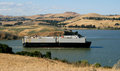 Cargo ship carquinez straight passing through the california Royalty Free Stock Photos