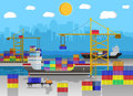 Cargo ship, container crane, truck. port logistics