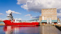 Cargo ship in Edinburgh docks Royalty Free Stock Photo