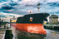 Cargo ship in harbor Royalty Free Stock Photo