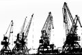 Cargo ship lifting cranes on the river in the port black and white photo Stock Image