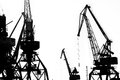 Cargo ship lifting cranes on the river in the port black and white photo Stock Photos