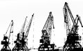 Cargo ship lifting cranes on the river in the port black and white photo Stock Photo