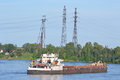 Cargo ship on the Neva river Royalty Free Stock Photo