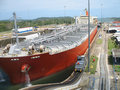 Cargo ship in Panama Canal Royalty Free Stock Images
