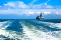 Cargo ship sailing in to the sea Royalty Free Stock Image