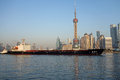 Cargo ship in shanghai huangpu river Royalty Free Stock Image