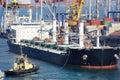 Cargo ship and tug boat Royalty Free Stock Photo