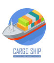 Cargo Ship Vector Icon in Isometric Projection