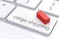 Cargo shipping concept d render of enter button with container Royalty Free Stock Photography