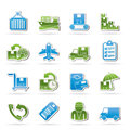 Cargo, shipping and delivery icons Stock Image