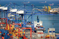 Cargo ships landscape from bird view of entering one of the busiest ports in the world singapore Stock Photo