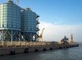 Cargo shipyard near the ferry in piombino italy Stock Photos