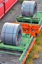 Cargo train platform with role steel seen from above Stock Photo