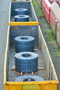 Cargo train platform with role steel seen from above Stock Photography