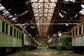 Cargo trains in old train depot eaten by the rust Royalty Free Stock Photos
