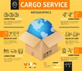 Cargo Transportation Delivery Service Business Infographic Concept. Vector Royalty Free Stock Photo
