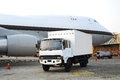 Cargo truck and airplane aircraft at the airport Royalty Free Stock Photography