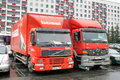 Cargo trucks ufa russia may european volvo fm and mercedes benz atego at the city street Stock Photos