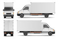 Cargo van isolated on white. City commercial delivery truck template. White vehicle mockup. vector illustration