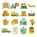 Cargo vector icon set isolated. Airplane, harbor ships, logistic conveyer Royalty Free Stock Photo