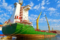 Cargo vessel view of a at the dock Royalty Free Stock Images