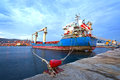 Cargo vessel view of an old at a commercial port Royalty Free Stock Image
