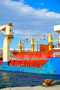 Cargo vessels cranes detail of Stock Image