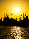 Cargo vessels at the sunset Royalty Free Stock Photo