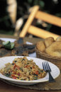 Caribbean food buljol fried flying fish and bakes tobago west indies Stock Photo