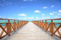 Caribbean jetty and exotic beach beautiful tropical Royalty Free Stock Photo