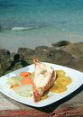 Caribbean lobster tostones corn island nicaragua fresh tails cooked garlic and butter with local vegetables as photographed in big Royalty Free Stock Photo