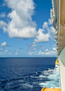 Caribbean Ocean Water and Cruise Ship from Balcony Stock Photos