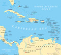 Caribbean political map with capitals national borders important cities rivers and lakes english labeling and scaling illustration Stock Images
