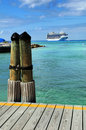Caribbean Port With Cruise Ship in Background Royalty Free Stock Photography