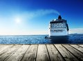 Caribbean sea and cruise ship wood pier Royalty Free Stock Photo
